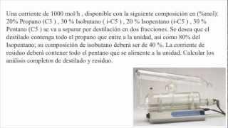 Problema balance de masas separación propano, isobutano, isopentano, pentano destilador