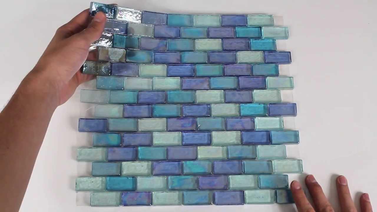Iridescent Glass Mosaic Tile Pale Blue Blend 1x2 - 120KELU12BL14 ...