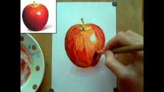 Как рисовать яблоко(Видеурок как рисовать яблоко акварелью. Больше уроков рисования здесь: www.urokizhivopisi.ru., 2013-11-28T08:10:47.000Z)
