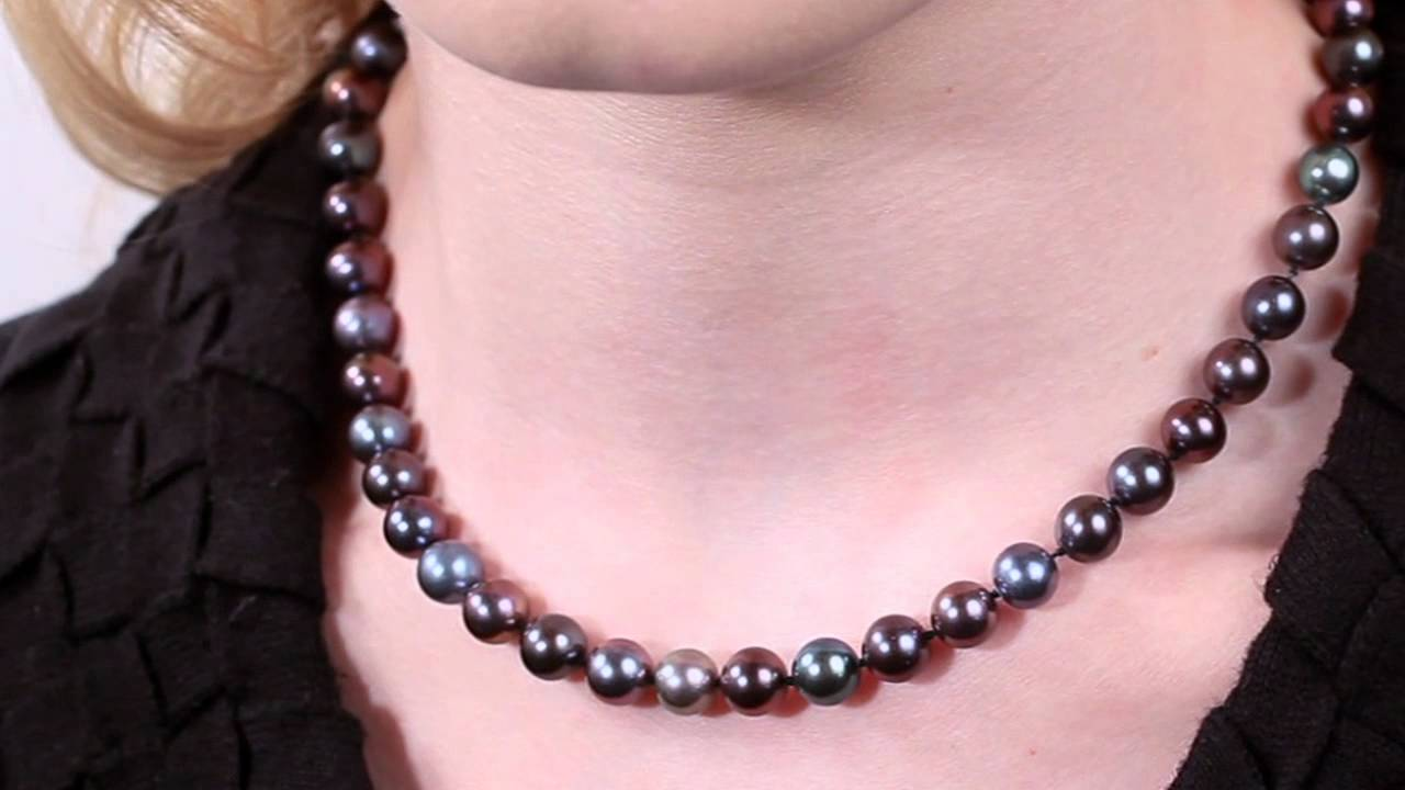 bad37ddf95dfca Black Freshwater Pearl Necklace 8.0-9.0 by Pure Pearls - YouTube