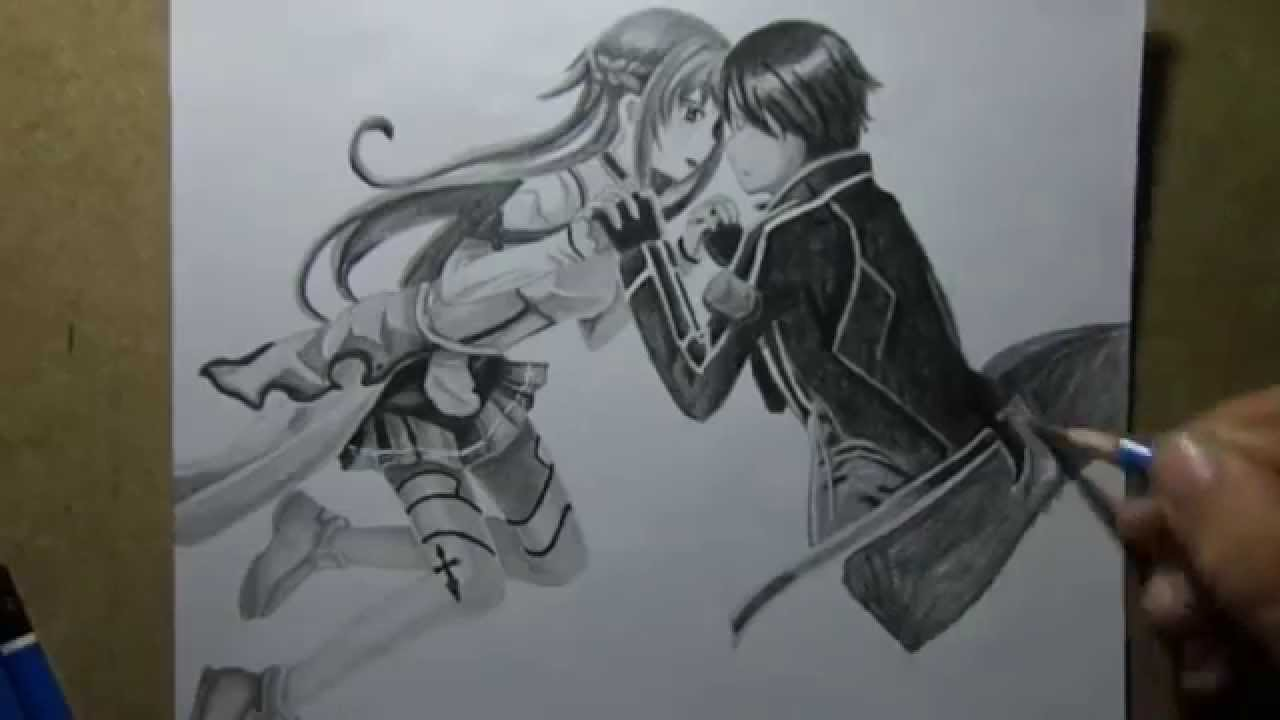 Pencil Drawing - Asuna And Kirito (Sword Art Online ...