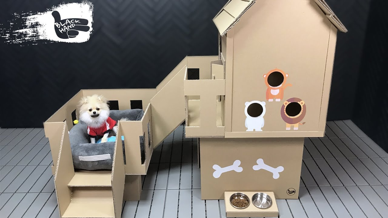 How To Make Amazing Puppy Dog House From Cardboard Jillian Diy Journal Dog House Diy Cat House Diy Cardboard Cardboard Cat House [ 720 x 1280 Pixel ]