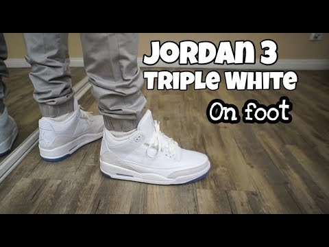 6f34ae73375d60 2018 Jordan 3 Triple White On Feet!! - YouTube