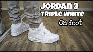 jordan 3 white on feet