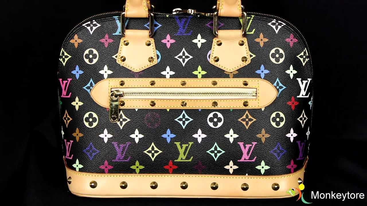25a5f6137421 Authentic Louis Vuitton Monogram Black Multicolor Alma - YouTube