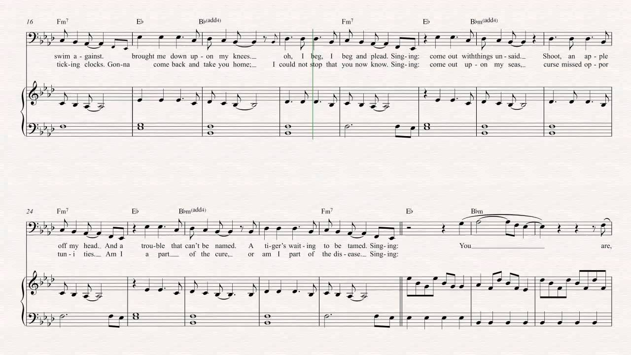 Bass Clocks Coldplay Sheet Music Chords Vocals Youtube