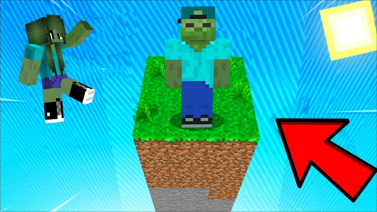 ZOMBIE FAMILY SURVIVING on 9 CHUNK In Minecraft !!