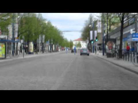 Lahti - kaupungin pomppuisen nupulakivikadun läpi ajelu - driving Lahti
