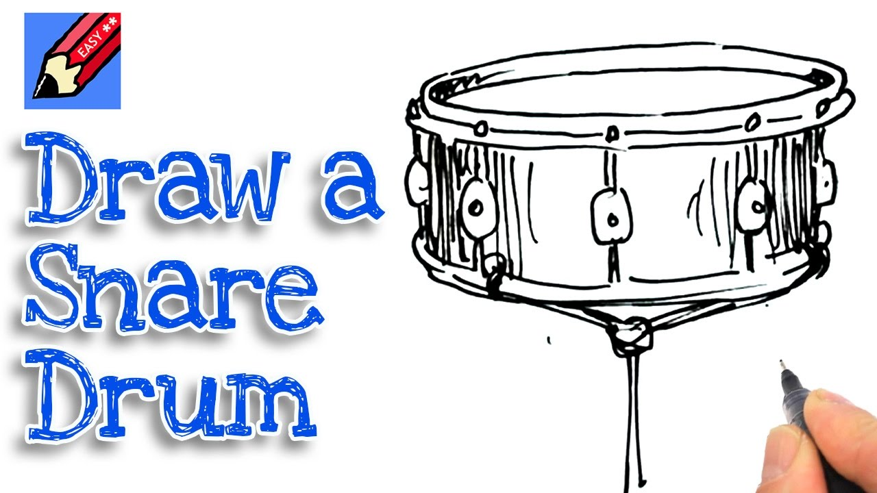 Learn How To Draw A Snare Drum Real Easy For Kids And Beginners