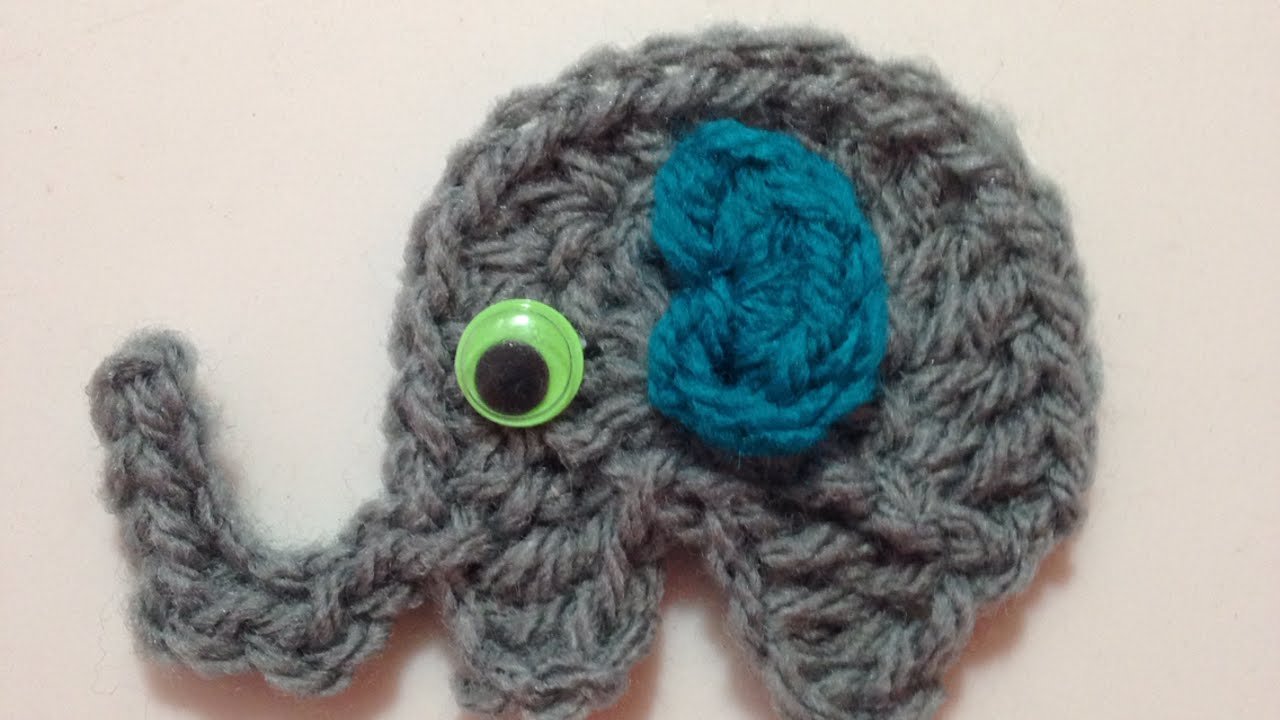 How To Crochet A Pretty Elephant Applique For Kids Diy Crafts