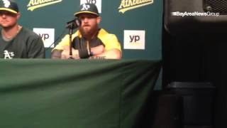 Jonny Gomes is happy to be back with an #Athletics team for which he was so crucial in 2012. #asvide