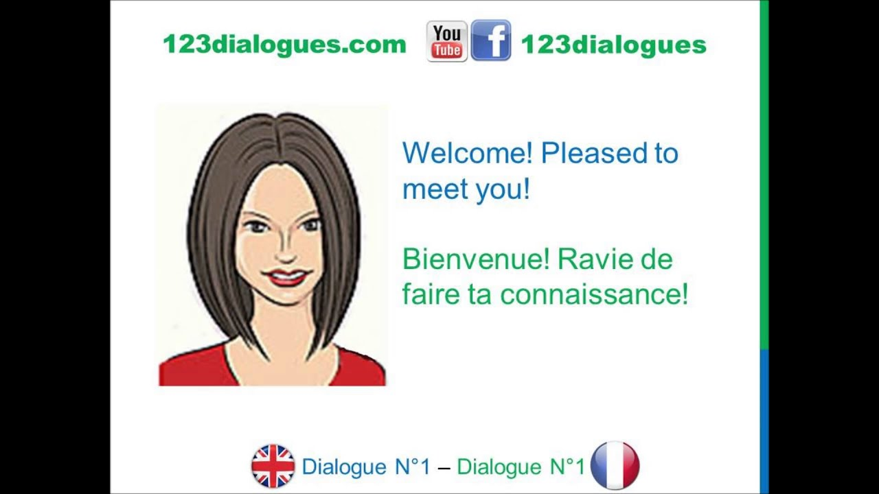 Dialogue 1 - English French Anglais Français - Hi What's your name? -  Bonjour Comment t'appelles-tu?