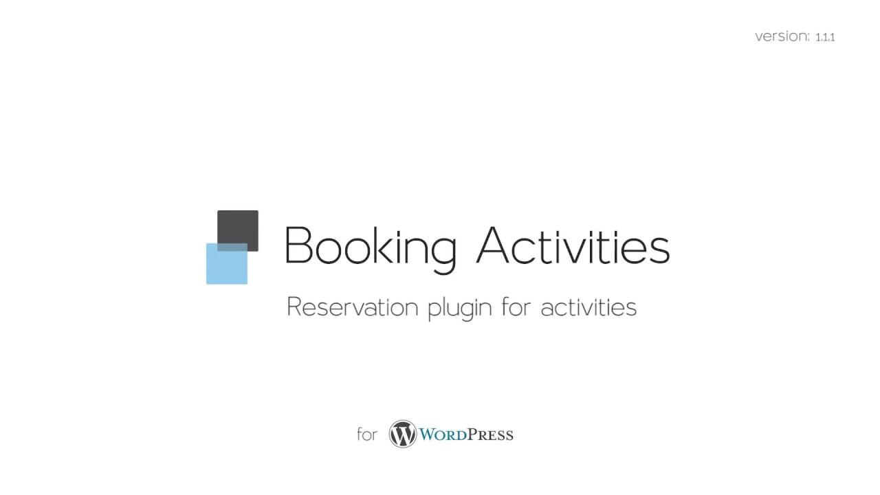 Booking Activities – WordPress plugin | WordPress org