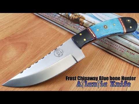 FROST CHIPAWAY HUNTER BLUE BONE & BUFFALO HORN STAINLESS FIXED KNIFE CW676BHBSB