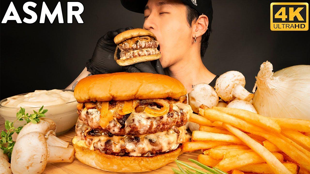ASMR ULTIMATE MUSHROOM SWISS BURGER MUKBANG | COOKING & EATING SOUNDS | Zach Choi ASMR