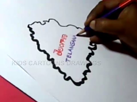How to Draw LATEST TELANGANA MAP Step By Step Drawing for kids