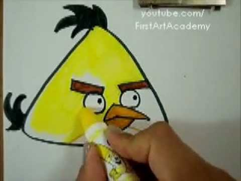 Angry Bird Yellow How To Draw And Color Easy Simple Tutorial