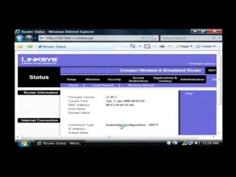 Linksys Router Ip >> How To Change An Ip Address Using Broadband A Linksys Router Youtube