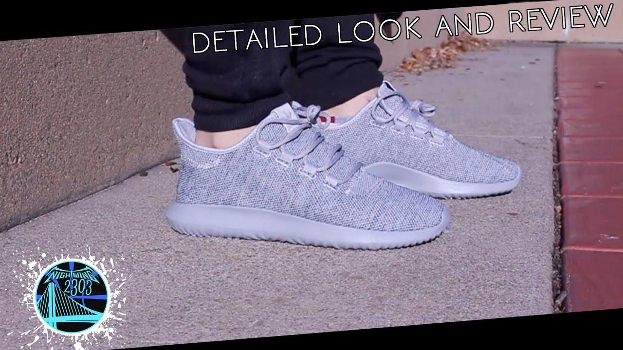 scarpe da basket di maglia adidas tubulare ombra grigia particolareggiata
