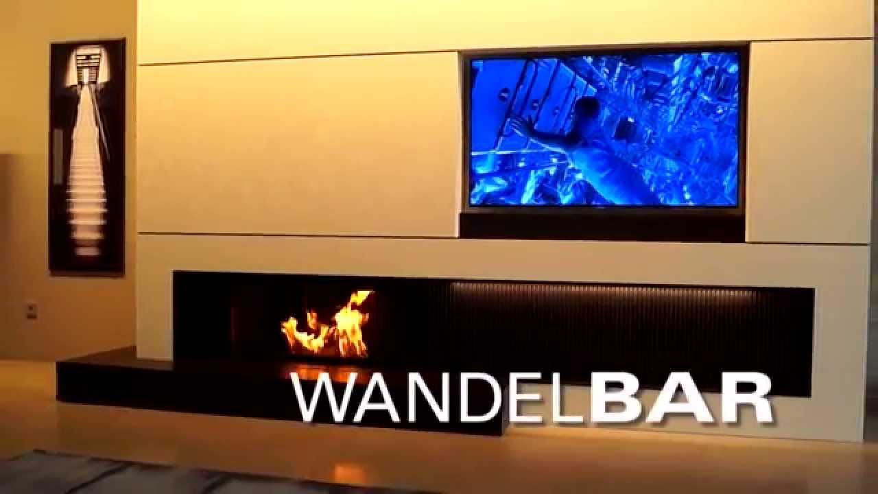 WANDELBAR  Kamin TV und Bar faszinierend kombiniert