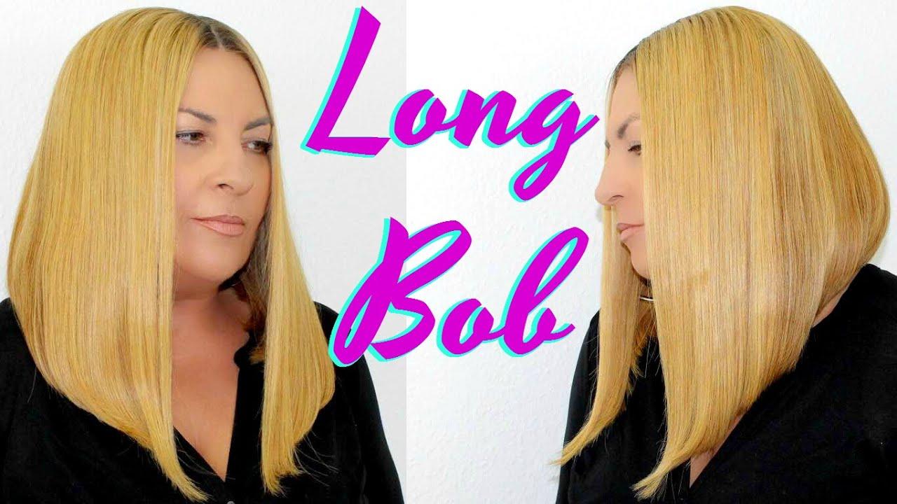 Easy Tutorial How To Cut A Blonde Long Bob Asymmetrical Lace