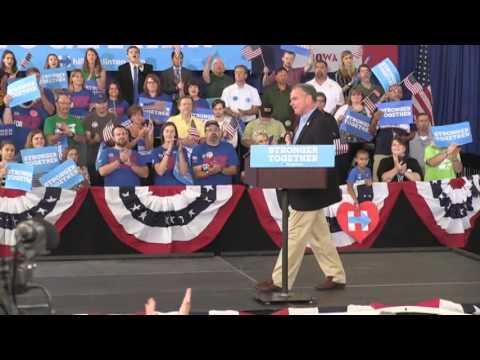 Watch VP candidate Tim Kaine's speech in Cedar Rapids