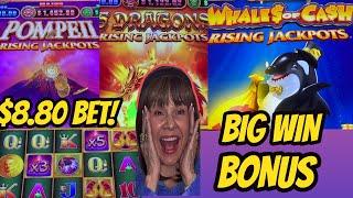 BIG WIN! $8 80 BET ON POMPEII RISING JACKPOTS