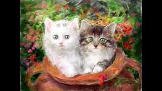 Котята - процесс рисования