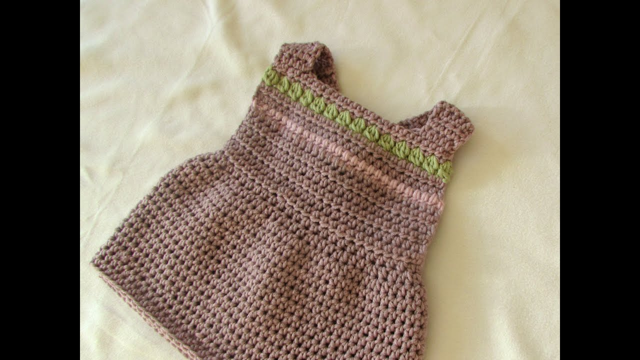 How to crochet a pretty pinafore dress - any size (baby to ...