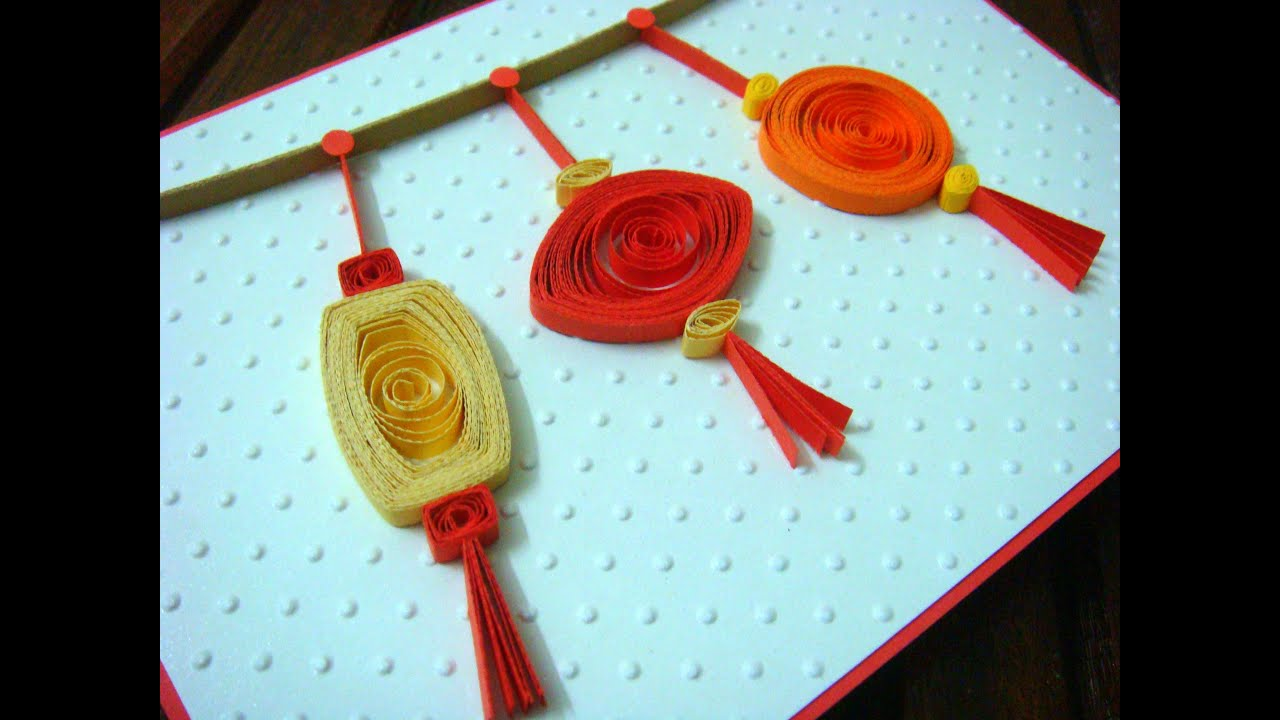 Lunar new year crafts - Quilled Lanterns On Chinese New Year Card