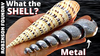 Pouring molten metal inside a seashell - WHAT HAPPENS? - Experimental metal casting at home - DIY