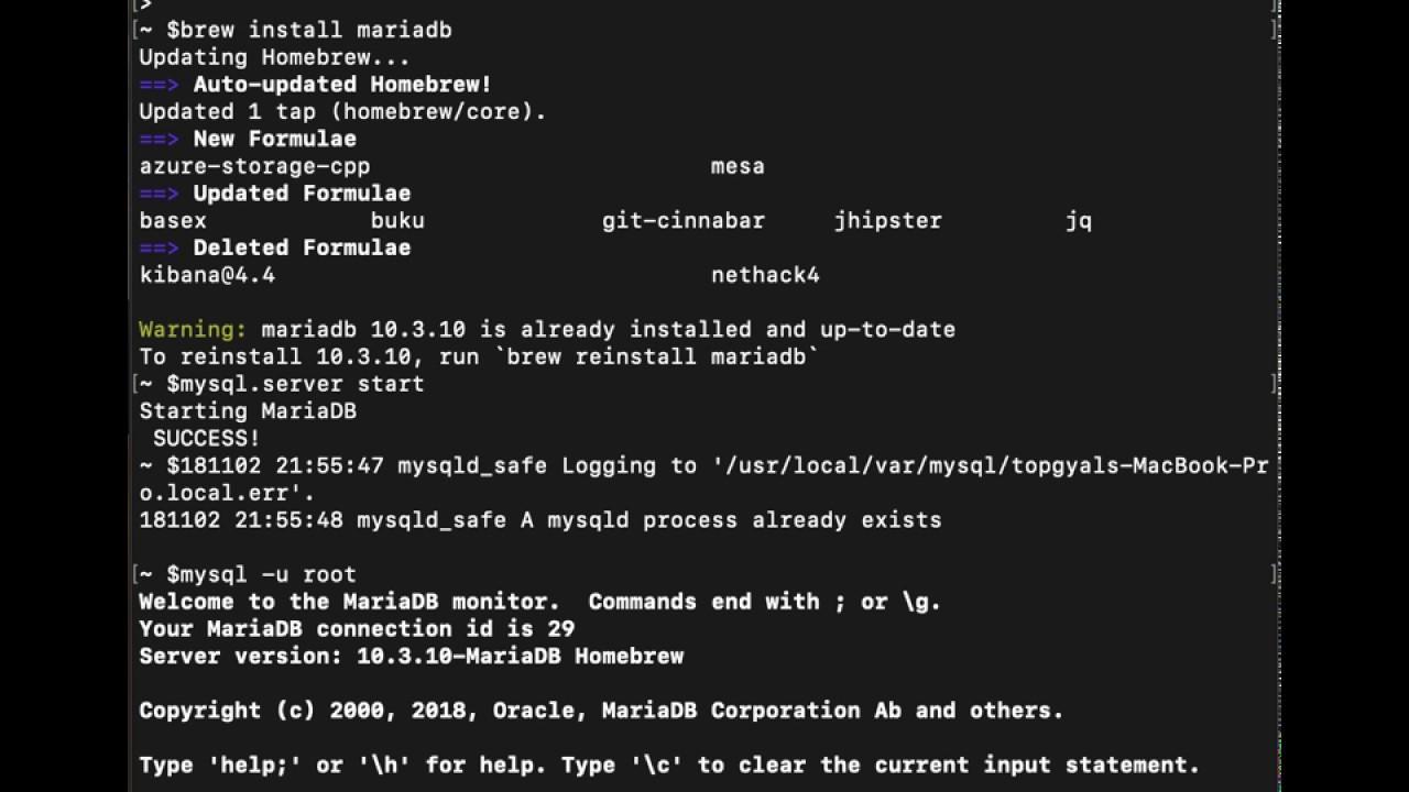 Simple MariaDB server installation using Homebrew Mac OSX