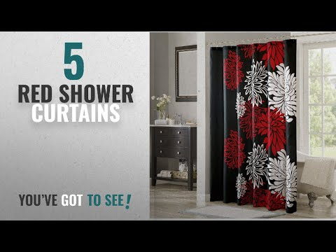 Top 10 Red Shower Curtains [2018]: Comfort Spaces – Enya Shower Curtain – Black,Red – Floral