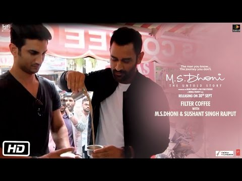 M.S.Dhoni – The Untold Story   Dhoni and Sushant sip filter coffee