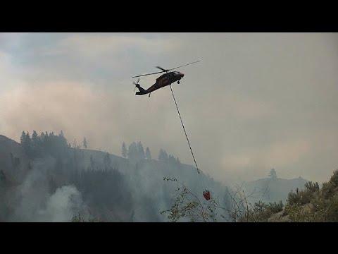 Blackhawk Helicopters Drop Water on the Carlton Complex Fire, Winthrop, WA