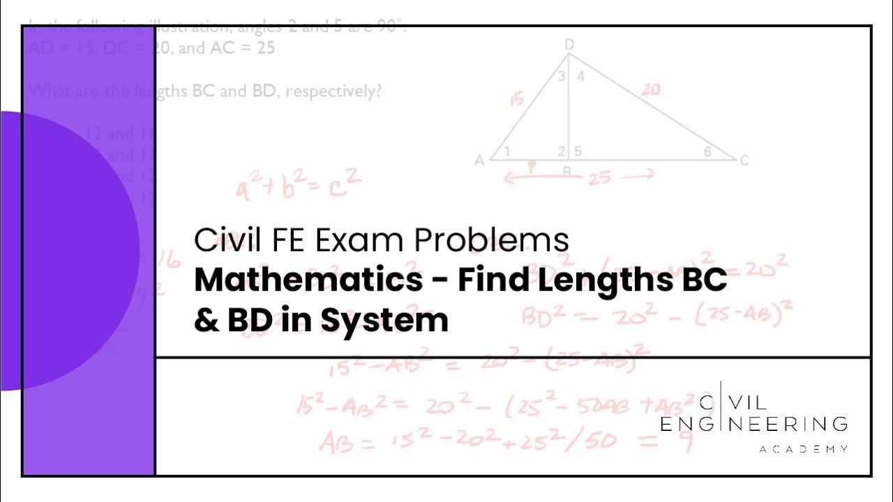 Civil FE Exam - Mathematics - Find Lengths BC & BD in ...