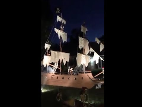 Aargh You Ready For a Pirate Ship Halloween Display in Syracuse