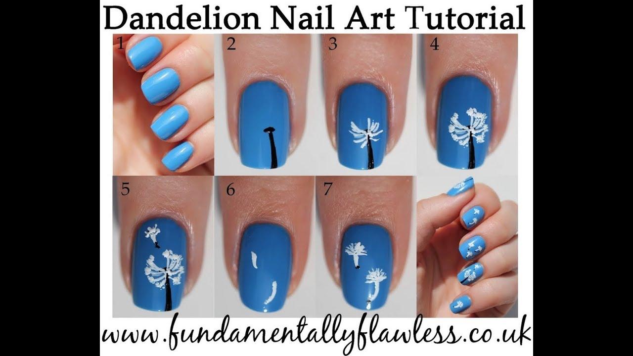 Spring Dandelion Nail Art Video Tutorial - FabYouNails - YouTube