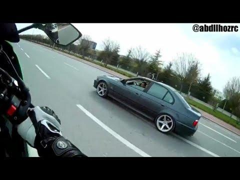 Motorcuya Yarışalım Diyen Bmw'ci Şok...