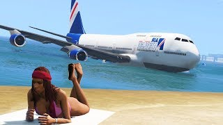 Boeing Plane Emergency Landing on the beach - GTA 5