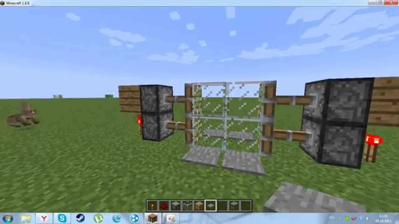 как сделать раздвижную дверь в майнкрафт #6