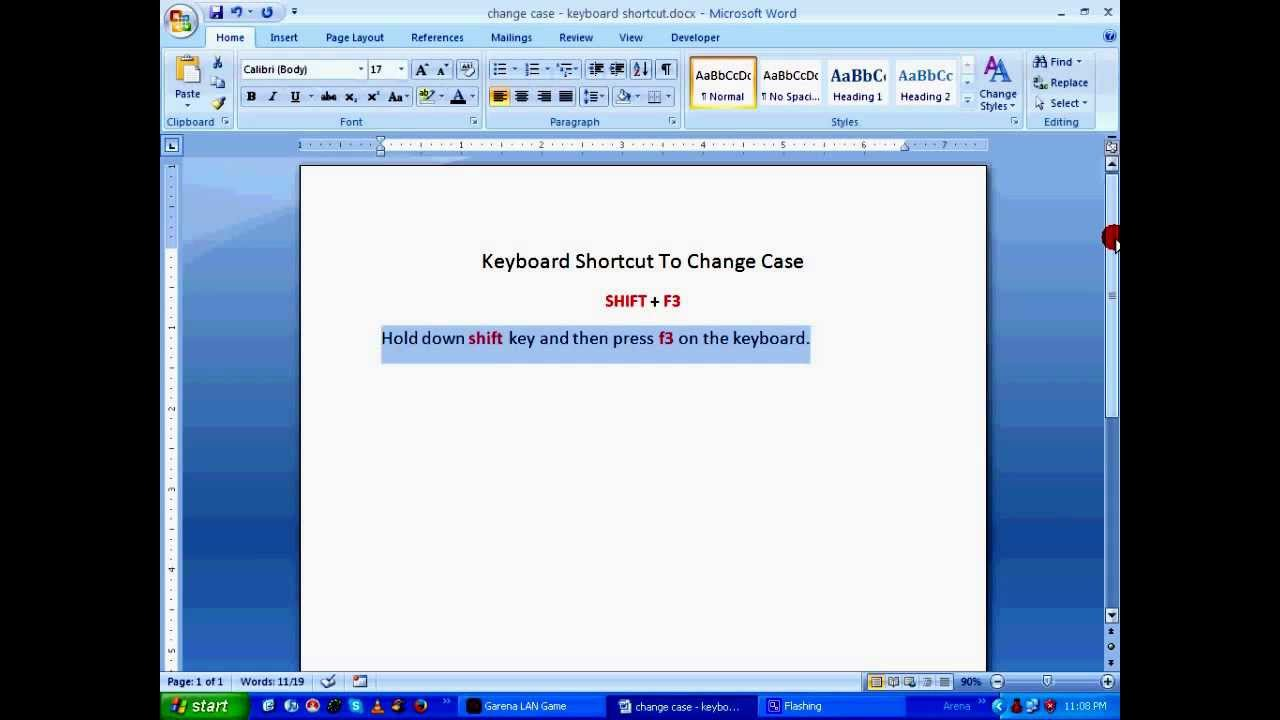 ms word tutorial change case using keyboard shortcuts hd youtube