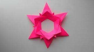 Christmas star origami Рождественская звезда из бумаги. Оригами елочная игрушка своими руками