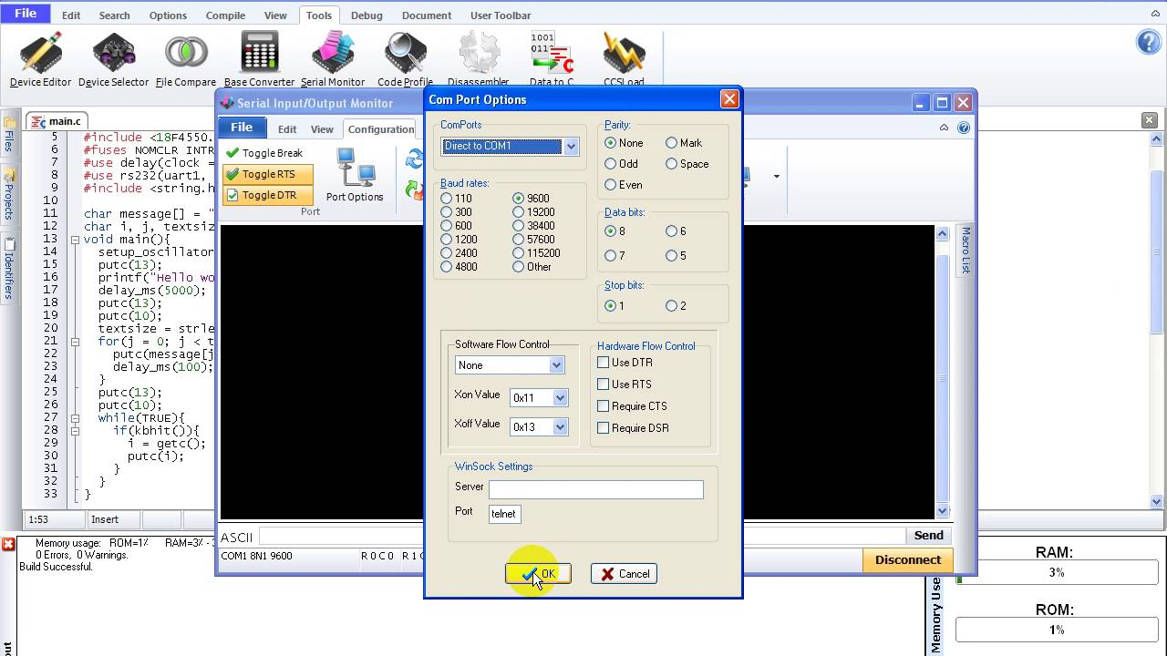CCS C UART example for PIC18F4550 microcontroller