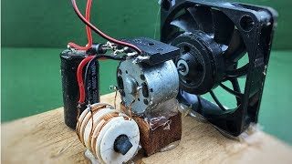 Electric free energy fan with dc motor generator - How to creative science experiment project 2018