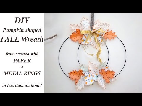 DIY Modern Pinterest Style Fall Wreath / Pumpkin shaped Paper Fall Wreath Tutorial