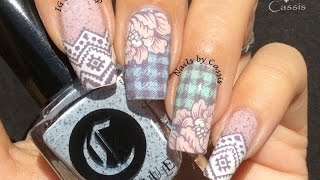 Delicate Plaid & Flower Stamping Nail Art