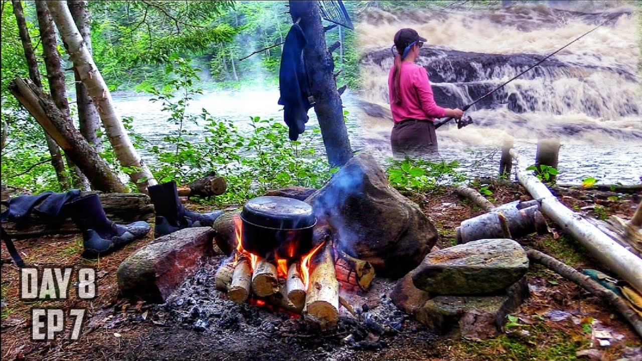 10 Days Overnight Camping in the Canadian Wilderness -Portage -Campfire Fry Bread- White Water Day 8