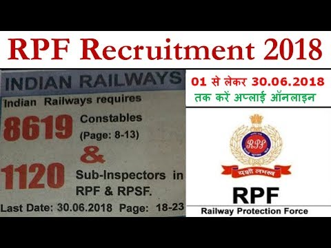 RPF Recruitment 2018 Online Application Form || 8619 Constable & 1120 SI Pdf Notification