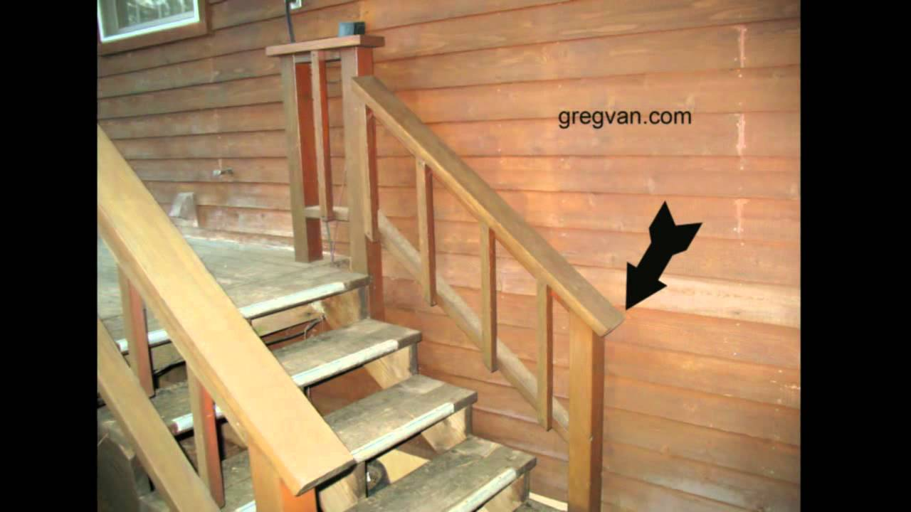 Big Mistake When Building A Deck Stairway Handrail Youtube | Graspable Handrail For Deck Stairs | Simple | Made 2X4 | 2 Foot | Code Compliant | Tall